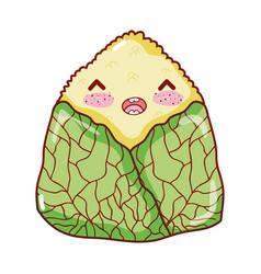 Kawaii onigiri sushi japanese food cartoon sushi vector