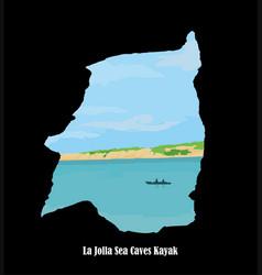 La jolla coastline on a sea caves kayak vector