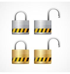 locked and unlocked padlock set vector image