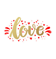 love lettering phrase in golden style design vector image