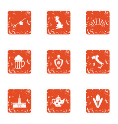 Lunchtime icons set grunge style vector