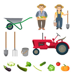 Male and female farmers and equipment for work set vector