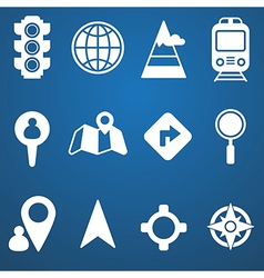 Map and location icons set white vector