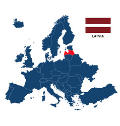 map of europe with highlighted latvia vector image