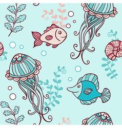 Marine seamless pattern with jellyfish vector