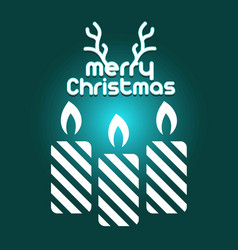 merry christmas card with candles vector image