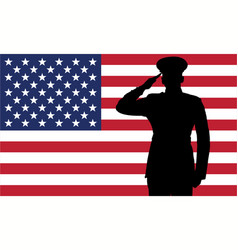 military or police salute silhouette with usa flag vector image