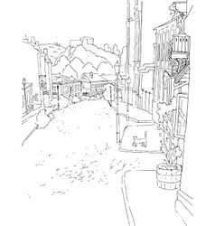 monochrome sketch city town urban vector image