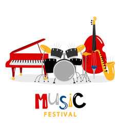 music festival background with color music vector image