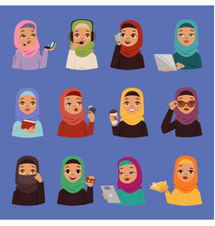 Muslim religious arabic adult women vector