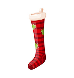 new year red striped sock festive icon vector image