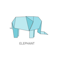 origami elephant folded from blue paper isolated vector image