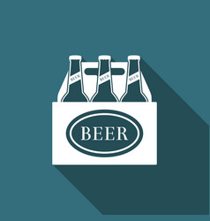 pack of beer bottles icon with long shadow vector image