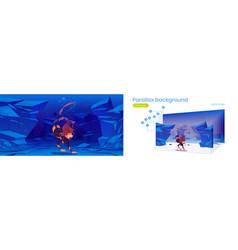 Parallax background for game scuba diver woman vector