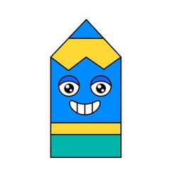 Pencil cheerful face emoticon icon vector