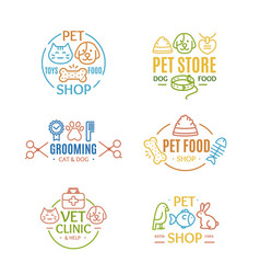 Pet shop badges or labels color line art set vector