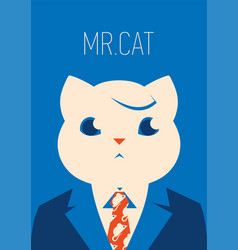 portait of a cat in suit and tie vector image