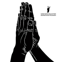 Praying hands detailed black and white vector