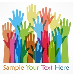 Raised hands color vector