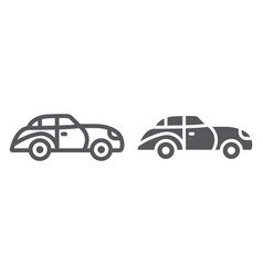 retro car line and glyph icon vintage and vector image