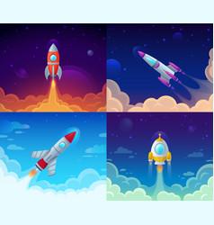 Rocket launch space travel galaxy rocketship vector