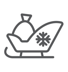 Santa sleigh line icon sledge and winter vector