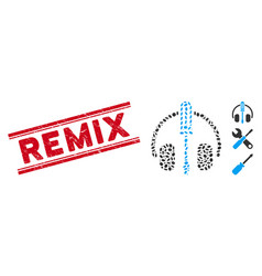 Scratched remix line seal and collage headphones vector