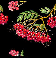 Seamless background with rowanberry branch vector