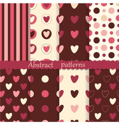 set abstract patterns with hearts vector image