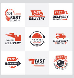 set delivery labels for online shopping vector image