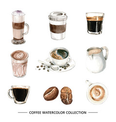 Set isolated elements watercolor coffee vector