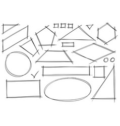 Set of sketchy 2d geometrical shapes vector