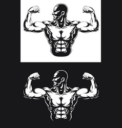 Silhouette gym bodybuilder flexing arm muscles vector
