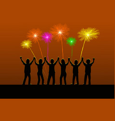 six silhouette people are holding their hands vector image