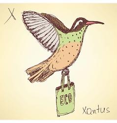 Sketch fancy xantus in vintage style vector
