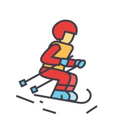 Skier sky snow mountain winter action concept vector