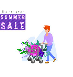 summer banner a man carries a trolley from a vector image
