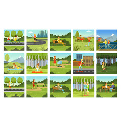 summer outdoor activities set people relaxing vector image