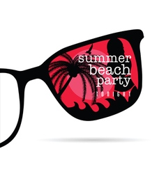 Sunglasses with summer beach party icon on it vector