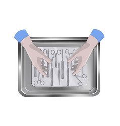 surgeons hands above the tray with medical vector image