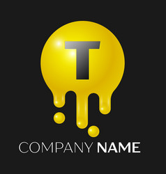 T letter splash logo yellow dots and bubbles vector