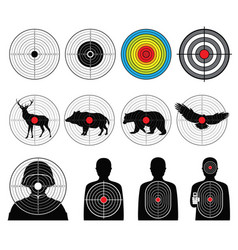 Targets for shooting with silhouette man vector