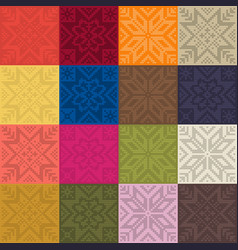 Trendy color patt by plain color knitted patches vector