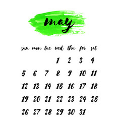 watercolor ink calendar template 2019 year may vector image