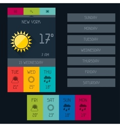 Weather widget in flat design style vector image vector image