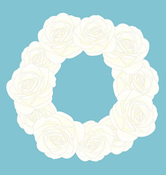 white rose flower wreath vector image