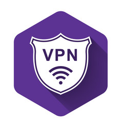 White shield with vpn and wifi wireless internet vector