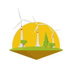 Wind energy power turbine electricity flat design vector