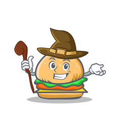 Witch burger character fast food vector
