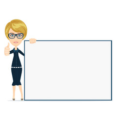 Woman pointing to the placard vector